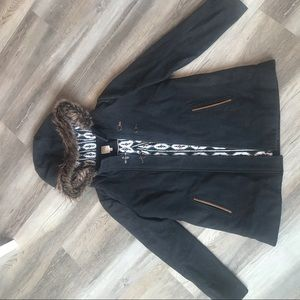 Twik Women's Winter Jacket. Faux-Fur Collared Hood